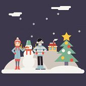 Winter Geek Hipster Happy Family Characters making Snowman New Year Landscape Christmas Icon Greetin
