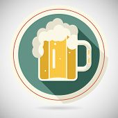 Beer Mug with Foam Retro Symbol Alcohol Icon long shadow on Stylish Background Flat Design Template