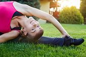 Woman Doing Flexibility Exercise Outdoor