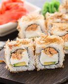 Sushi rolls with salmon teriyaki