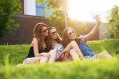 Selfie Photo.3 pretty woman enjoying the nice weather on the grass