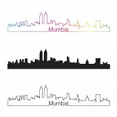 Mumbai Skyline Linear Style With Rainbow