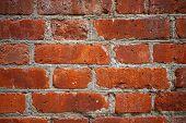 Red Brick Wall Closeup