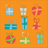 Collection of vector colorful Christmas present boxes. Decorative items.