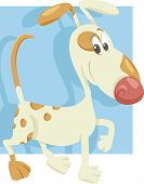 image of spotted dog  - Cartoon Illustration of Funny Spotted Dog on Walk - JPG