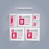 Infographics background with cubes and letters - pink and white