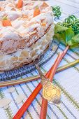 Rhubarb Pie With Meringue And Almonds