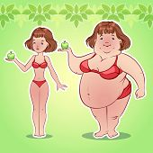 picture of skinny  - Skinny and fat girl with an apple - JPG