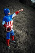 Boy dressed as Captain America