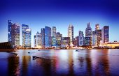 image of singapore night  - Cityscape Singapore Panoramic Night Concept - JPG