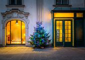 Building decorated for christmas in Vienna