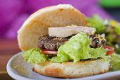 Gourmet burger with fois gras