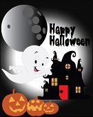 Постер, плакат: Halloween background with silhouettes of baby gost