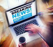 Digital Online Breaking News Headline Concept
