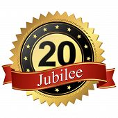 Jubilee Button With Banners - 20 Years