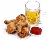 Food. Delicious, roasted chicken legs on a white background