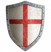 pic of templar  - Old templar or crusader metal shield isolated on white - JPG