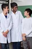 Young African American female teacher and teenage boys standing together in science lab