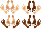 picture of love making  - Love making feet with variations of mixed race on an isolated white background with a clipping path - JPG