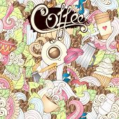 Hand-Drawn Coffee  Doodle Vector Illustration.