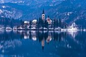 Church on a small island at lake Bled, Slovenian Alps