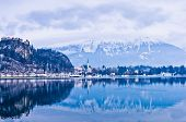 Lake Bled in winter, Slovenian Alps