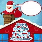 Merry christmas Santa Claus climbing in the chimney holding sack of presents and with speech bubble.