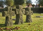Crosses On German War Cemetery Of Langemark, Belgium.