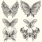 Collection Of Abstract Vector Swirl Butterflies For Design