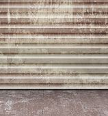 Grunge concrete room design - abstract industrial rusty wall texture with old floor