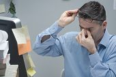 image of  eyes  - Office worker with eye pain touching his eyes and holding glasses - JPG