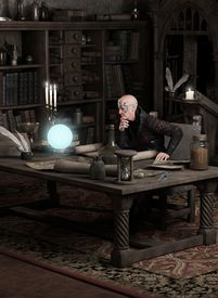 picture of sorcerer  - Fantasy illustration of a sorcerer sitting in his study consulting a blue glowing magic orb - JPG