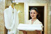 stock photo of housekeeper  - Hotel room service - JPG