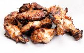 picture of roast chicken  - beautiful oven roasted chicken wings with barbeque sauce - JPG