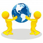 stylized people holding earth globe