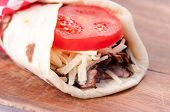 picture of cheese-steak  - beef steak wrap with cheese and tomato - JPG