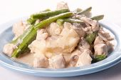 picture of chicken  - chicken stroganoff a delicious dish of diced chicken creamy mushroom sauce and snow peas served over mashed potatoes - JPG