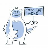 foto of hairy  - Hairy cute yeti holding sign and smiling - JPG