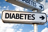 foto of diabetes mellitus  - Diabetes direction sign on sky background - JPG