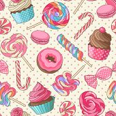 image of donut  - Yummy colorful sweet lollipop candy macaroon cupcake donut seamless pattern - JPG