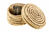 pic of cultural artifacts  - an indian basket isolated over a white background