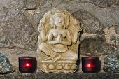 picture of handicrafts  - stone carving of hinduist trinity - JPG