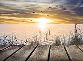 stock photo of pier a lake  - wooden pier on the lake - JPG