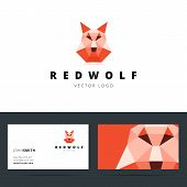 pic of werewolf hunter  - Triangle polygonal logo with wolf sign and business card template - JPG