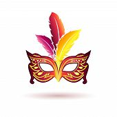 picture of anonymous  - Vector carnival mask with feathers isolated on white background - JPG