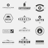 stock photo of latte  - Coffee Retro Vintage Labels Logo design vector typography lettering inspiration templates - JPG