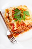 picture of lasagna  - Lasagna bolognese served in a white plate with a fork - JPG