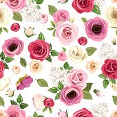 picture of purple rose  - Vector seamless pattern with red - JPG