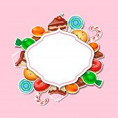 pic of candy cane border  - Background with colorful sticker candy - JPG