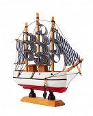 image of keepsake  - Model of sailing ship isolated on white background - JPG